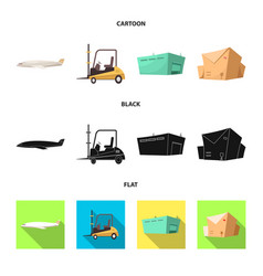 isolated object goods and cargo logo set of vector image