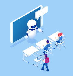 Isometric online education training online vector