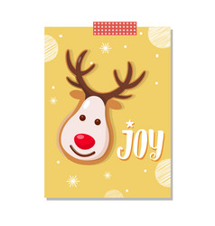 Joy greeting card with reindeer character cookie vector