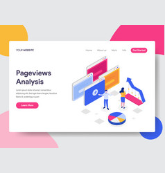 landing page template pageviews analysis vector image