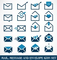 Mail Message and Envelope Icon Set vector image