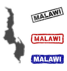 malawi map in halftone dot style with grunge name vector image