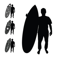 man silhouette with surfboard active set vector image