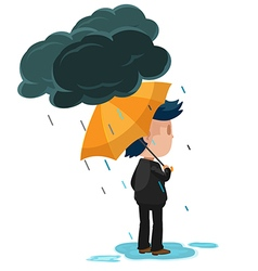 Man Stand Look Forward Rain vector image