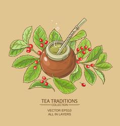 Mate tea in calabash vector