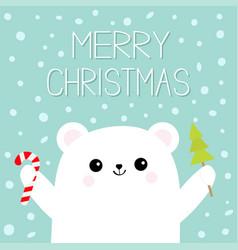 merry christmas polar white bear cub hand holding vector image