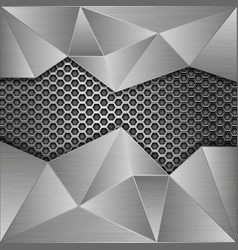 Metal perforated background with brushed metal vector