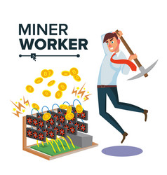Miner businessman cryptocurrency and vector