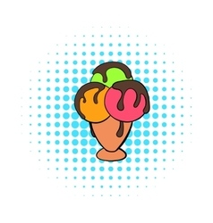 Mixed ice cream scoops in cone icon comics style vector