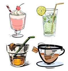 Non alcoholic drinks collection vector
