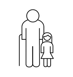 Old grandfather with granddaughter avatar line vector