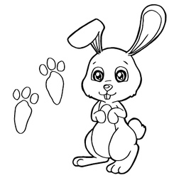 Paw print with rabbit coloring pages vector