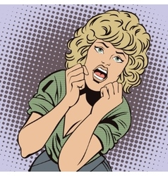 People in retro style popart Girl screams in fear vector image