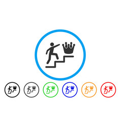 person steps to crown rounded icon vector image