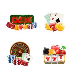 piles realistic casino gamble set vector image