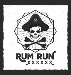 Pirate skull insignia poster rum label design vector