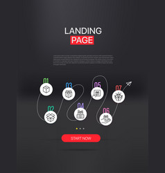 Promo landing page with infographic template vector