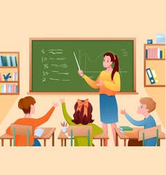 pupil kids and teacher in classroom woman vector image