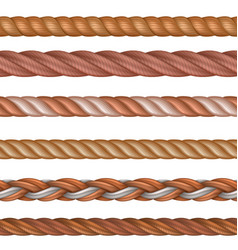 realistic seamless rope and nautical cables vector image