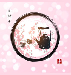 sakura blossom and old teapot in enso zen circle vector image
