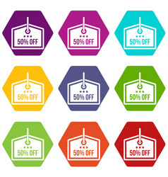 Sale tag 50 percent off icon set color hexahedron vector