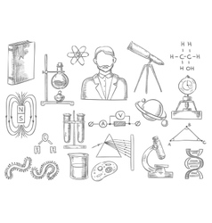 Scientific items sketch isolated icons vector