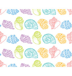seamless pattern from colorful seashell vector image