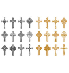 set isolated black and yellow religion cross vector image