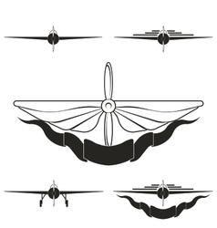 Set logos depicting airplanes vector