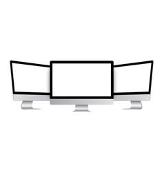 set modern desktop pc isolated vector image