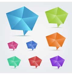 Set of 8 colorful origami speech bubles vector