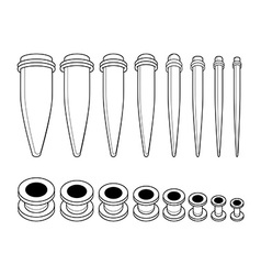 Set of ear tunnels and taper starters kit Contour vector