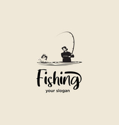 Silhouette fishing logo vector