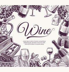 sketch wine background celebration wine bottle vector image