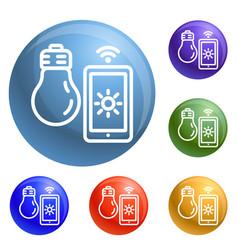 smart bulb control icons set vector image