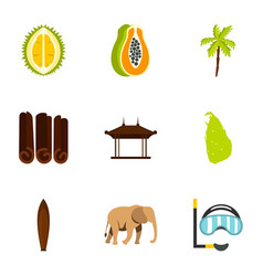 sri lanka attractions icons set flat style vector image