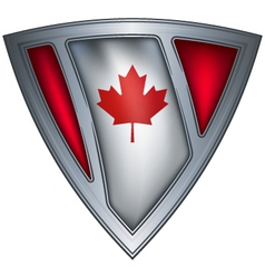 steel shield with flag canada vector image