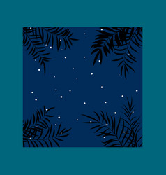 summer night tropical background with palm leaves vector image