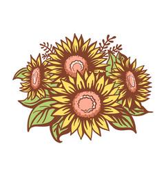 Sunflowers vintage sketch bouquet vector