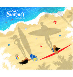 surfers man and woman standing near water vector image