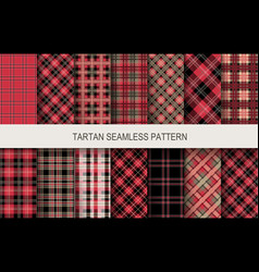 tartan seamless patterns in red and black colors vector image