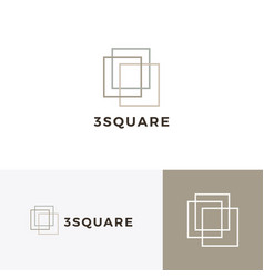 three square 3 logo icon vector image