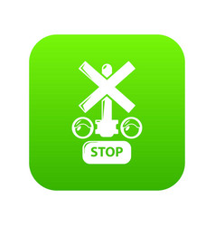 traffic light stop railway icon green vector image