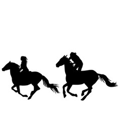 two horse riders galloping vector image