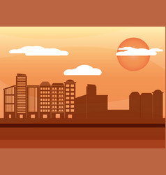 urban buildings cartoon vector image