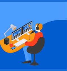 video editor man creates media content vector image