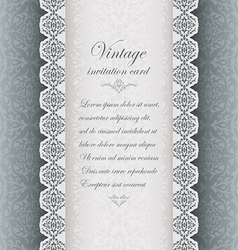 Vintage blue background with lace vector