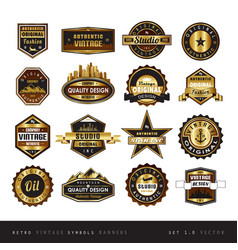 vintage retro golden labels black and white vector image