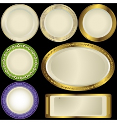 white plates with ornament vector image
