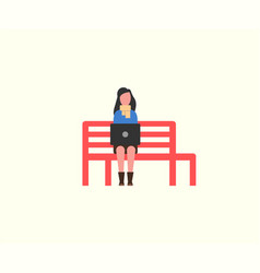 Woman working with personal laptop on wooden bench vector